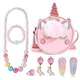 hifot glitter unicorno gioielli bambina borsa principessa collane braccialetti orecchini squillare forcine set gioielli bambina,borsa a tracolla accessori per feste vestire fingere di giocare