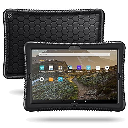 Fintie Silikon Hülle für Das Neue Amazon Fire HD 10 & Fire HD 10 Plus (nur kompatibel mit Tablets der 11. Generation, 2021) - Leichte Stoßfeste Silikon Kinderfre&liche Schutzhülle, Schwarz