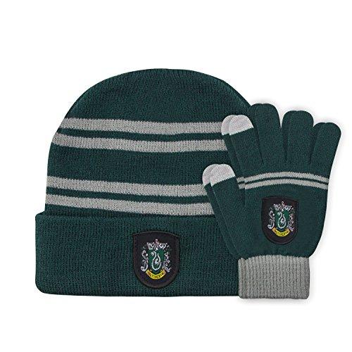 Cinereplicas - Harry Potter - Mütze und Handschuhe Set - Kinder - Offiziel lizensiert - Slytherin - Grün und Grau