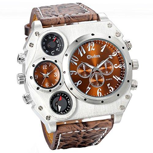 JewelryWe Herren Armbanduhr, Leder Legierung, Analog Quarz Kompass Thermometer Armband Uhr, Braun Leder Armband mit Braun Zifferblatt
