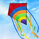 Funyole Large Rainbow Diamond Kite for Kids and Adults, Easy Flyer Colorful Kites Great for Beginners Outdoor Games Activities, Beach Trip 74 * 65cm