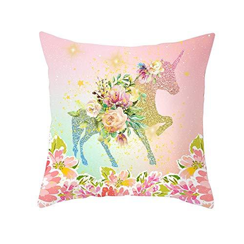 Funda de Cojín Decorativos Funda de Almohada Unicornio de dibujos animados de flores Cuadrado Terciopelo Suave Cojines Decor con Cremallera Invisible para Sofá Funda de Cojín M10662 Pillowcase,35x35cm