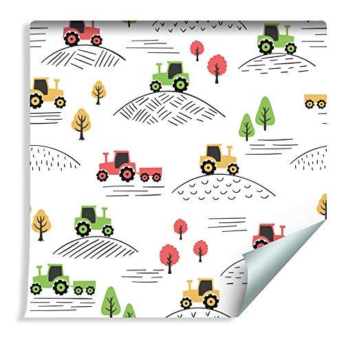 Wallepic Tapete 10m Vlies Tapete Traktor Farmleben Kinder Vliestapete 1000x53cm Wand Tapete Wohnzimmer Kinderzimmer Moderne Wanddeko Wand Dekoration