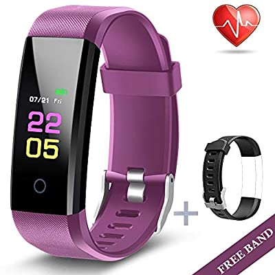 Fitness Tracker - Activity Tracker Watch with Heart Rate Blood Pressure Monitor, Waterproof Watch with Sleep Monitor, Calorie Step Counter Watch for kids Women Men Compatible Android iPhone Purple