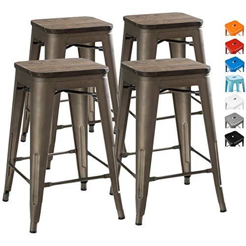 UrbanMod 24 Inch Bar Stools for Kitchen Counter Height, Indoor Outdoor Metal,Rustic Gunmetal, Wooden...