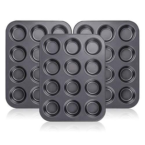 Kingrol 12-Cup Muffin & Cupcake Pans, Set of 3 Baking Pans, Non-stick Bakeware, Standard