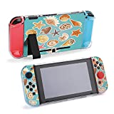 SUPNON Carry Case Compatible with Nintendo Switch, Ultra Slim Hard Shell, Protective Carrying Case for Travel - Sea Shells and Starfish Stickers Color Cartoon Design27438