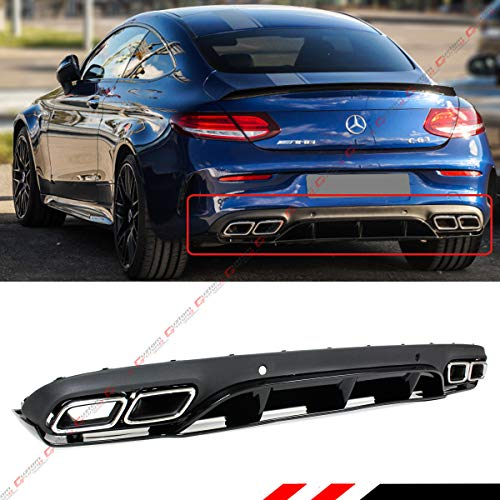 Fits for 2017-2019 Mercedes Benz W205 2 Door Coupe AMG C63 Edition 1 Style Rear Bumper Diffuser + Chrome Exhaust Tips