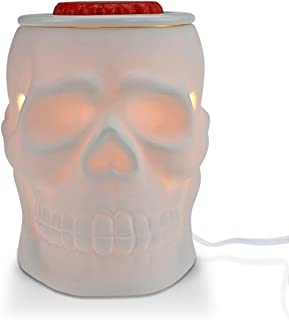 STAR MOON Pluggable Ceramic Fragrance Warmer Wax Melter for Home/Dorm/Office No Flame No Smoke No Soot Packaged Together with Two Bulbs - Resurgent Skull