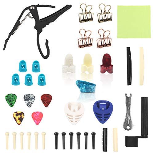 LAITER Conjunto de Accesorios para Guitarra Pasadores de Puente(6 blancas y 6 negras) Enrollador de Cuerdas Extractor de Clavijas Puente de Guitarra Superior e Inferior para Reparación de Guitarra