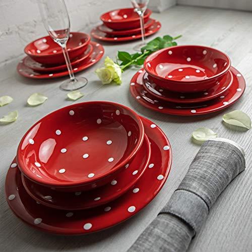 Juego de vajilla de cerámica pintada a mano en blanco y rojo para 4 platos de cena, platos laterales, cuencos y vajilla