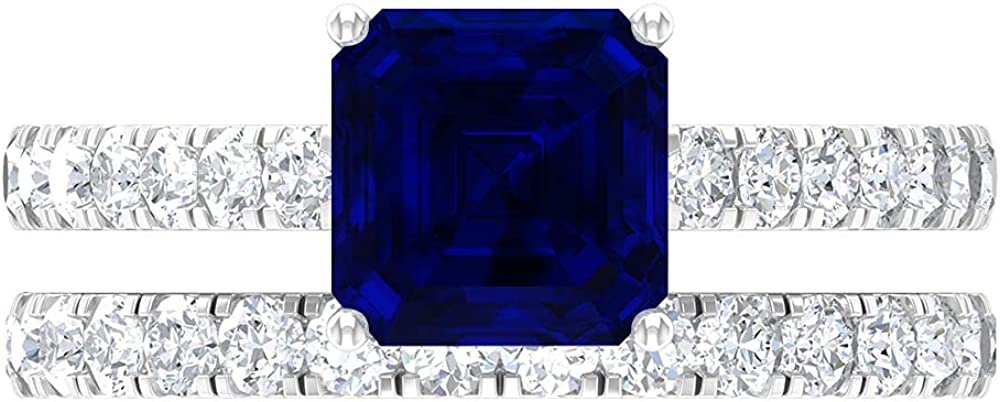 5 CT Asscher Cut Award Engagement Ranking TOP13 Ring Sapphire and with Created Blue