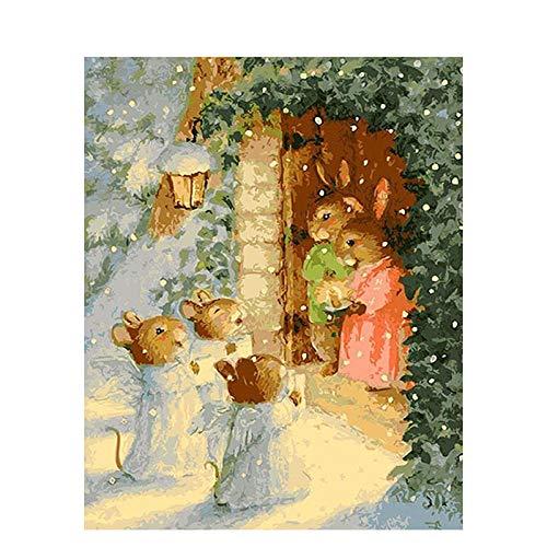LKAZLL Pintura de bricolaje por números, diseño de conejo de dibujos animados pintado a mano, pintura al óleo, sobre lienzo matar el tiempo, decoración del hogar, GIF único de 40,6 x 50,8 cm