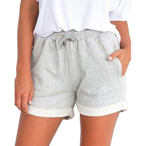 luoluoluo Short Sportivi Donna,Pantaloni Caldi da Donna, Pantaloncini da Spiaggia Larghi, Pantaloni Corti a Vita Alta,Donna Pantaloncini Basic con Risvolti