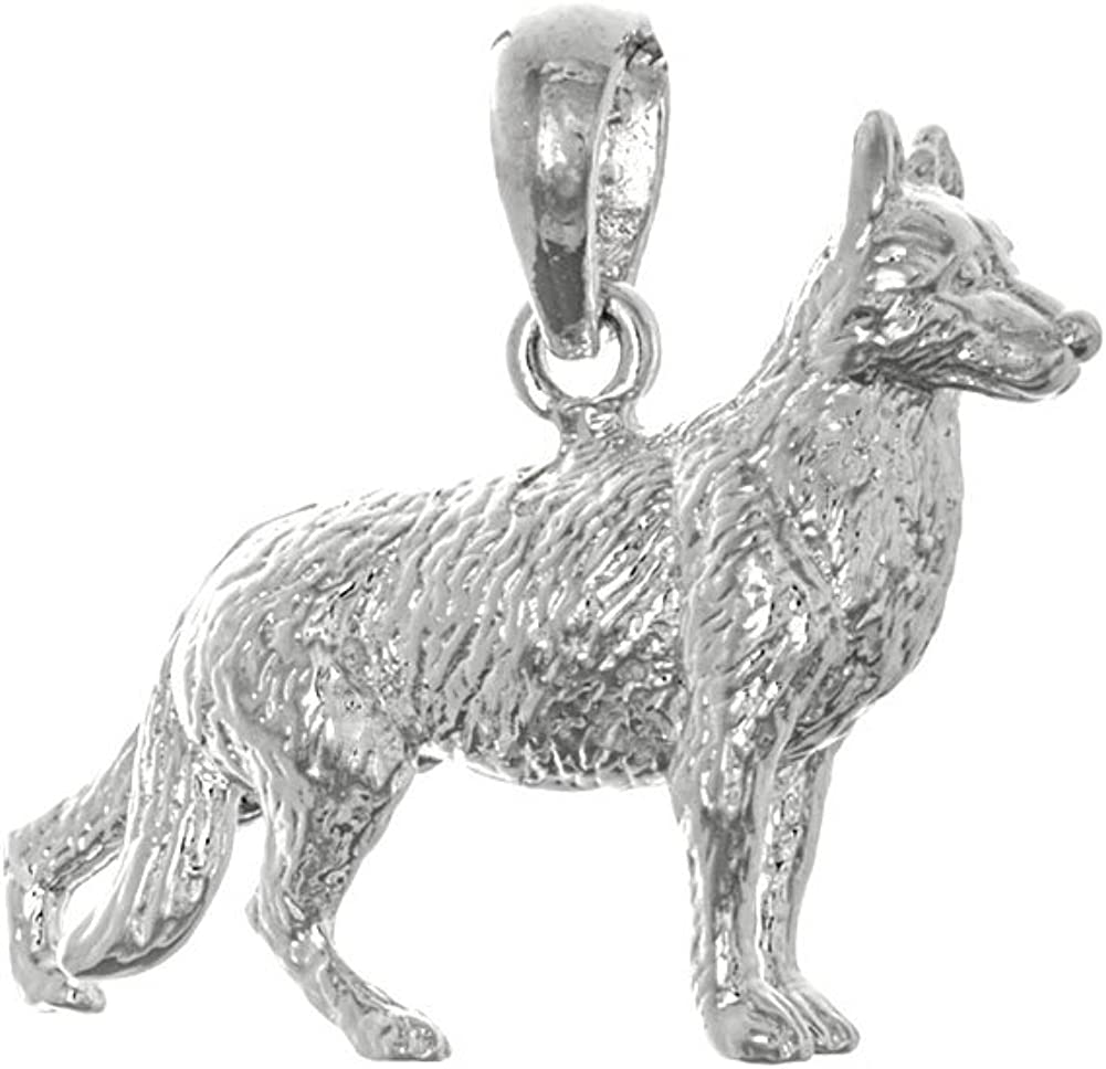 925 Max 52% OFF Sterling Silver Dog Charm Elegant Shepherd German Pendant 3-D