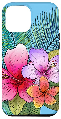 iPhone 12 Pro Max Floral Colorful Tropical Hibiscus Flowers Palm Tree Hawaiian Case