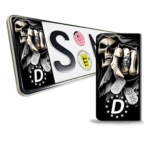 SkinoEu® 2 x Vinyl Aufkleber Nummernschild Kennzeichen JDM Tuning Auto Motorrad Skull Schädel Totenkopf Stickers EU QV 14