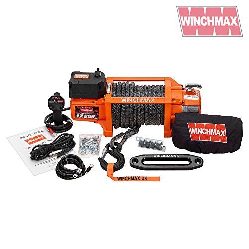 WINCHMAX Elektrische Seilwinde, Dyneema-Seil, kabellos, 12 V, 7,938 kg, Orange