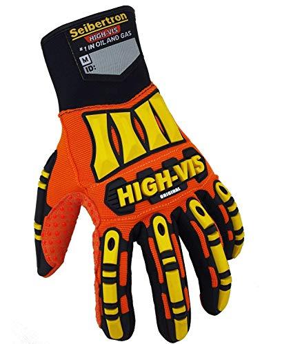 Seibertron Hoch/HIGH Vis Impact Safety Mechaniker Schutz Builders Handschuhe Glove, Aufprallschutz und robuste Arbeitshandschuhe Montagehandschuhe (abriebbeständig, rutschfest, waschbar) (XL)