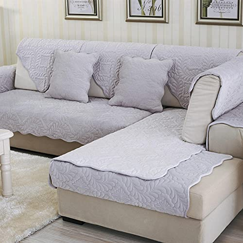 KENEL durable Sofa Slipcover, Plush Quilted Sofa covers Sofa cover slipcover, Winter Plush Furniture Protective Cover (Only 1 Piece/Not All Set)-90 * 70CM_Gray
