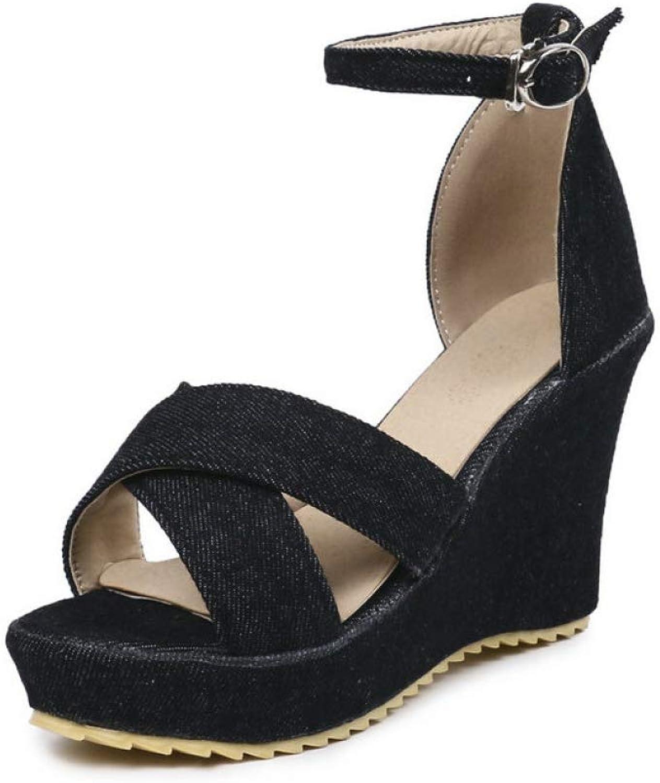Denim Wedge Sandals Women Summer Ankle Strap High Heels Ladies Party Dress Wedges Heel shoes Black bluee