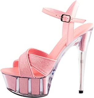 Single shoes female ALUK Scarpe da donna Sweet Flower 15cm Tacco alto a spillo Sandali da banchetto (Colore : Silver, dimensioni : 38 Shoes