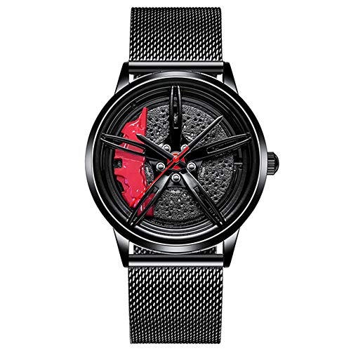 Relojpara Hombre 2020 Relojdeportivo para Coche Diseño de llanta para Coche Relojde Pulsera de Acero Inoxidable Relojes Impermeables Relojde Moda
