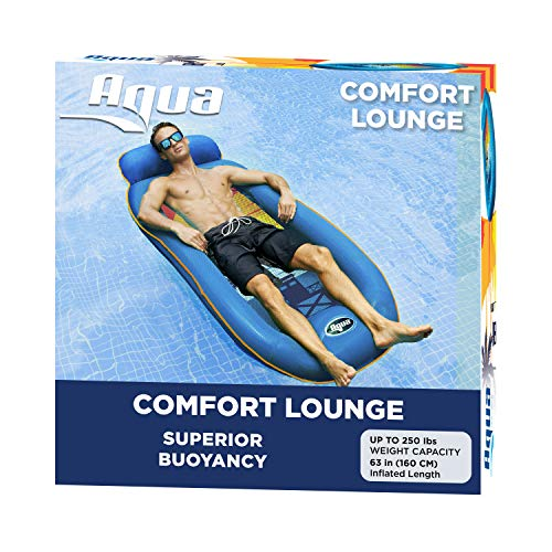 Aqua Comfort Water Lounge, X-Large, Inflatable Pool Float with Headrest & Footrest, Surfer Sunset, Blue/Orange Sunset Comfort Lounge (AZL11310SSP)