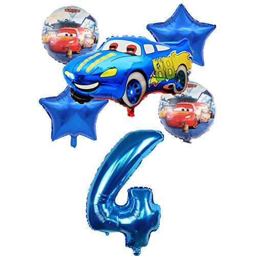 XIAOYAN Globos 6 unids Racing Coche Lightning Mcqueen Cumpleaños Globos Baby Cumpleaños Fiesta Decoraciones Suministros 32 Pulgadas Número Foil Ballons Kid Toy ( Color : Blue4 )