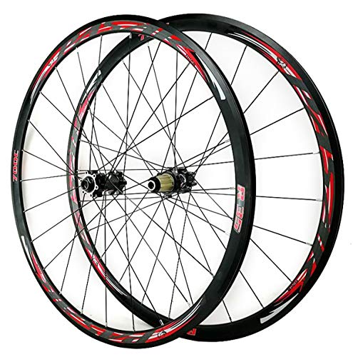 ZCXBHD 700C Disc Brake Road Bike Wheelset Mountain Bike Front and Rear Wheel Cyclocross Road V/C Brake 7 8 9 10 11 12 Speed (Color : Red, Size : Quick Release)