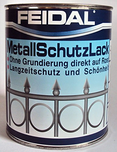 Feidal Metallschutzlack , 3 in 1 Rostschutz , Grundierung u. Lack in einem , Farbton schwarz / tiefschwarz RAL 9005 , seidenglänzend / 250 ml , Streichbar direkt auf Rost / Speziallack f. Handwerk u. Industrie / stoß- u. schlagfest