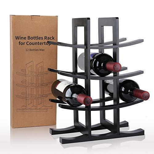 Gimars Práctico botelleros, Estante para Botellas de Vino de Madera para Guardar hasta 12 Unidades, Estante Vinoteca, Almacenamiento de Vino para Barra de Bar, Cocina Casera, hogar, Buen Regal