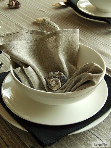 Serviettes de table LinenMe, 47x47 cm, collection Lucia, Set de 8, Naturel