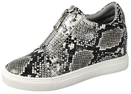 Gen Now Wedge Sneakers High Top Zipper Shoes Hidden Heel, Snake, 7.5