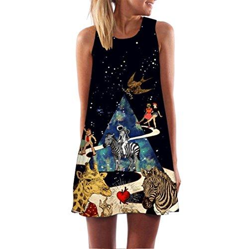 VEMOW Vintage Boho Frauen Sommerkleider Sleeveless Strand Gedruckt Kurzes Minikleid Eine Linie Abendkleid Täglich beiläufige Partei Weste T-Shirt Kleid Plus Size Rock(X1Schwarz 3, 44 DE/L CN)