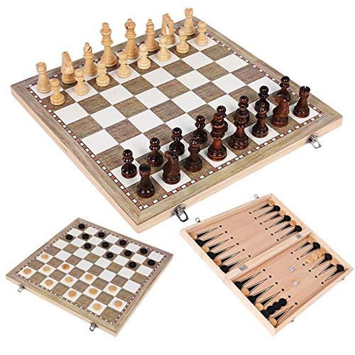 SHBV 3 en 1 Juego de Mesa de Gran tamaño Juego de ajedrez de Madera Plegable Damas Juegos educativos para niños (13,4 * 13,4 Pulgadas)