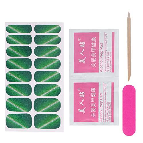 Adesivos de esmalte de unha Beaupretty com glitter para unhas completas, adesivos de arte para unhas para decoração de unhas faça você mesmo, 2 conjuntos (verde)
