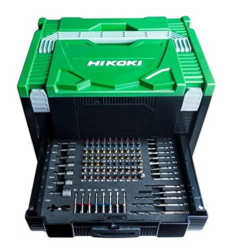 HIKOKI 40030037 Hit System Case mit 100 TLG Transportkoffer mit 100tlg. Zubehör, Grün Schwarz, 295x395x250 mm