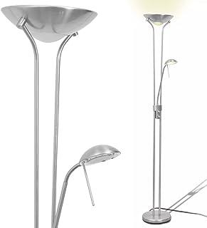 Festnight Lámpara de Pie con 1 Regulador Doble de Intensidad de Acero 180x25cm(Al x Diam.) 220-240V