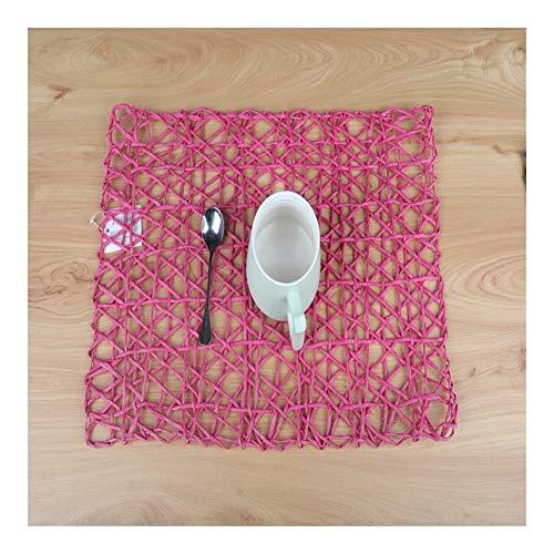 KangJiaoNanG Basics voor de vakantie zuiver handgeweven milieuvriendelijk enkele streng dik touw papier rechthoekig placemat cup coaster rope mat placemats set van 6 place matten