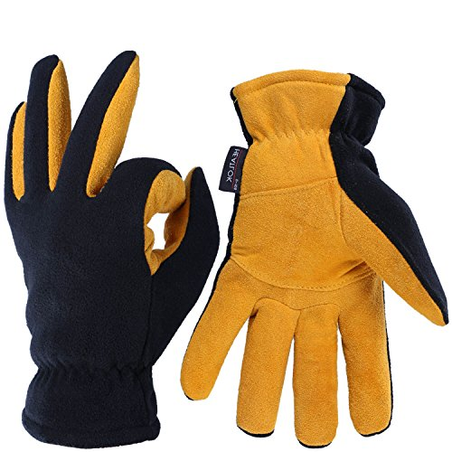 OZERO Deerskin Suede Leather Palm and Polar Fleece Back with Heatlok Insulated Cotton Layer Thermal Gloves, Large - Tan-Black