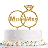 Gold Diamond Ring Mr and Mrs Cake Topper for Wedding, Bride to Be, Groom Bridal Shower Party Decoration (Acrylic)