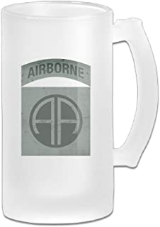 US Army Retro 82nd Airborne Division Glass Beer Stein Wagon Mug MANUBEER Beer Mugs