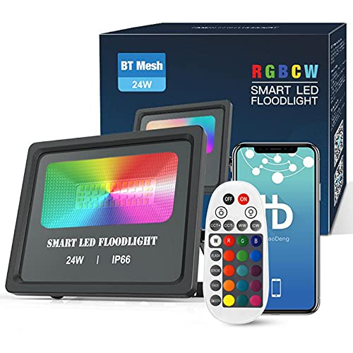 Bluetooth 24W RGBWC LED Strahler Dimmbar, CCT LED Flutlicht Farbig Fluter Außenstrahler Flutlichtstrahler 16 Millionen Farben Musik Rhythmus Timer, IP66 Wasserdicht Flood Licht mit Fernbedienung