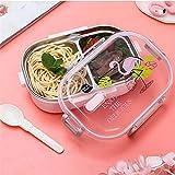 XIJUGE Caja Bento, Bento Box portátil con Compartimiento de vajilla de 650 ml de Acero Inoxidable niños Bento Box Microondas envase de alimento Impreso Bento Box