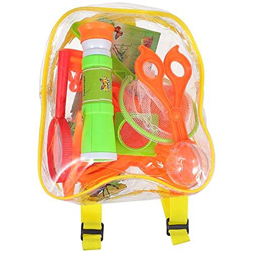 STOBOK Juego de exploración al aire libre exploración de la naturaleza con prismáticos lupa mariposas mochila juego para acampar senderismo patio trasero juguete educativo