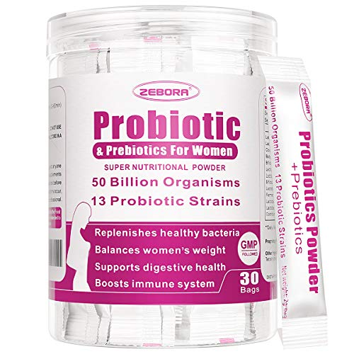 Probiotics for Women with Prebiotics 50-Billion-CFUs 13 Strains - Supports Vaginal, Digestive and Immune Health, Prebiotic Fiber No Refrigeration, Gluten & Soy Free 30 Packets