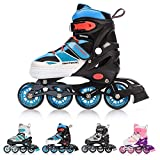 meteor Roller Skates Woman Man for Child Teenager Adults Inline Skates Adjustable Size Invert Skates (S, Blue)