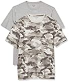 Amazon Essentials Men's 2-Pack Regular-Fit Short-Sleeve Crewneck T-Shirt, Grey Camo/Grey Heather, X-Large
