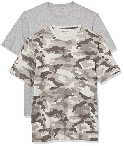 Amazon Essentials 2-Pack Regular-Fit Short-Sleeve Crewneck T-Shirt, Grau Camouflage/Grau Heather, M